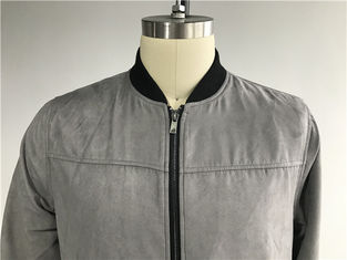 Grey Color Mock Suede Mens Baseball Jacket With 210T Black Lining TW68570
