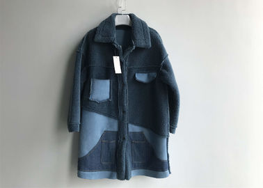 Denim Patch Pocket Sheep Faux Fur Jacket Blue Contrast Long Shearling Blocked Coats