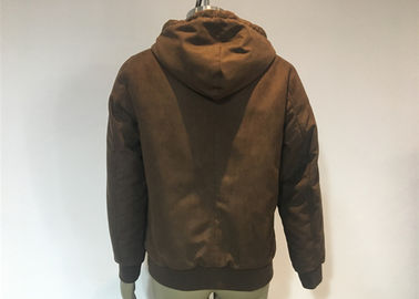 Mens Qulited And Ribbed Suede Bomber Coat Anti Wind Pu Hooded Jacket