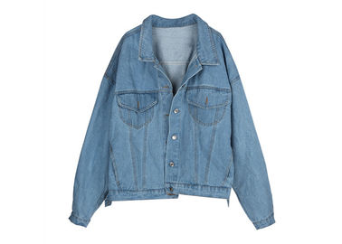 Printed Women ' S Denim Coats & Jackets Light Wash Trucker Over Size Fit