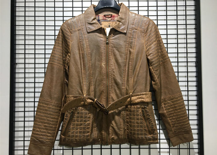 Brown Color Faux Pu Leather Coat For Mens Garment Dyed Technical With Belt