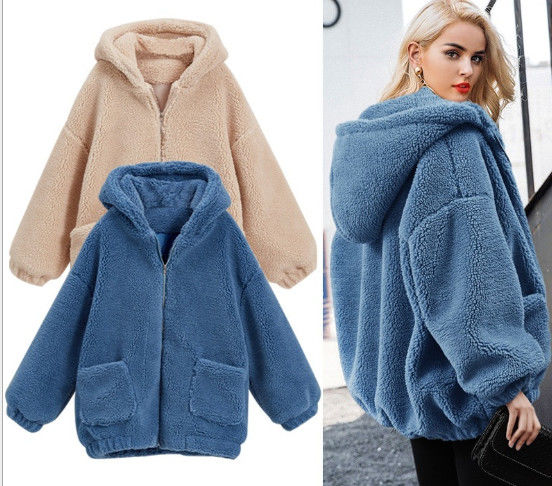 Womens Autumn Winter DTM Hooded Open Front Lamb Wool Coat